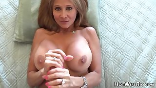 Mature blond housewife with phat milk globes is frolicking with her paramour's rock rigid manstick