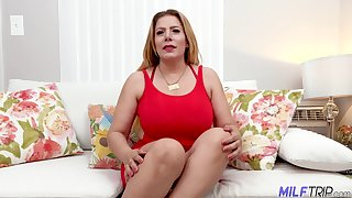 Chubby but hot MILF Nicky Ferrari gets nude as her wet pussy needs fingering