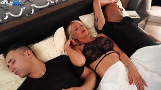 MILF gets the dick from both economize on and her step son
