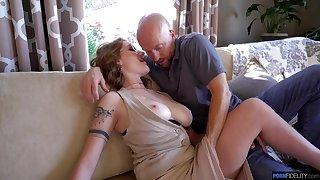 Crestfallen big breasted wife Aria Kai loves when their way pussy gets almost torn apart