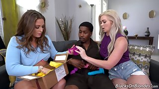 Lucky delivery man seduced by sexy gals Febby Twigs and Kay Carter