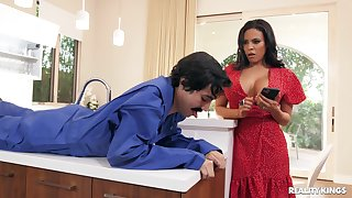 Mommy rides almost crazy modes together with swallows groove on a whore