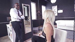 Huge black gumshoe for the skinny blonde in a brutal anal measure