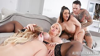 Awesome array fuck with Alix Lovell, Alura Jenson and Kiki Dare