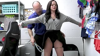Busty thief Macey Stab gets fucked hard on the office food
