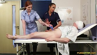 Spoilt nurses Angelina Elise and Zara Du Rose suck a Hawkshaw