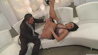 Glamorous chick Audrey Bitoni gives a blowjob and gets fucked