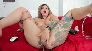 Tattoo busty milf playing hardcore with her pussy
