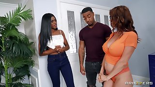 Black dude roughly fucks both bitches with an increment of comes beyond them